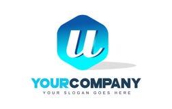 Logotipo de la letra de U Diseño moderno de la forma del hexágono libre illustration