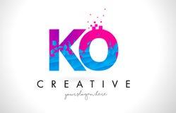 Logotipo de la letra del knock-out K O con la textura rosada azul rota rota Desig libre illustration