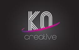 Logotipo de la letra del knock-out K O con las líneas diseño y la púrpura Swoosh libre illustration