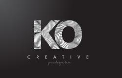 Logotipo de la letra del knock-out K O con las líneas vector de la cebra del diseño de la textura stock de ilustración