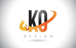 Logotipo de la letra del knock-out K O con las llamas diseño del fuego y la naranja Swoosh stock de ilustración