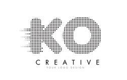 Logotipo de la letra del knock-out K O con los puntos y los rastros negros stock de ilustración