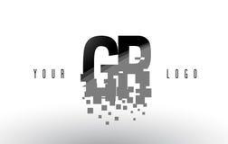 Logotipo de la letra del pixel de GR G R con las casillas negras rotas Digitaces Imagenes de archivo