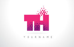 Logotipo de la letra del TH T H con el color y las partículas púrpuras rosados Dots Des Fotos de archivo libres de regalías
