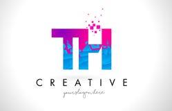 Logotipo de la letra del TH T H con la textura rosada azul rota rota Desig Imagenes de archivo