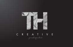 Logotipo de la letra del TH T H con las líneas vector de la cebra del diseño de la textura Fotos de archivo libres de regalías