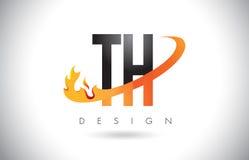 Logotipo de la letra del TH T H con las llamas diseño del fuego y la naranja Swoosh Imagen de archivo libre de regalías