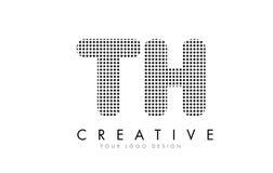 Logotipo de la letra del TH T H con los puntos y los rastros negros stock de ilustración