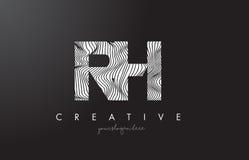 Logotipo de la letra el derecho R H con las líneas vector de la cebra del diseño de la textura Imagenes de archivo