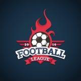Logotipo de la liga de fútbol, etiquetas, emblemas y elementos del diseño para el equipo de deporte 2016 Fotos de archivo