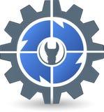 Logotipo de la llave inglesa del engranaje Fotos de archivo