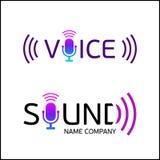 Logotipo de la música con el sonido y la voz del texto ilustración del vector