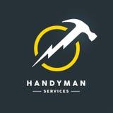 Logotipo de la manitas con el icono abstracto de la herramienta del flash del martillo Fotografía de archivo