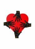 Logotipo de la mano y del corazón, amor y ayuda Fotografía de archivo libre de regalías