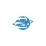 Logotipo de la maqueta del globo, símbolo azul de la muestra de la tierra, de Internet o del viaje Foto de archivo