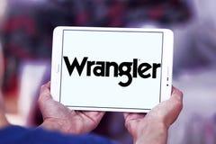 Logotipo de la marca de Wrangler Jeans imagenes de archivo