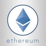 Logotipo de la moneda del cripto de Ethereum Imágenes de archivo libres de regalías
