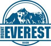Logotipo de la montaña de Ector Everest Emblema con el peack más alto en mundo Ejemplo de la etiqueta del alpinismo libre illustration