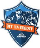 Logotipo de la montaña de Everest del círculo del vector Emblema con el peack más alto en mundo Ejemplo del alpinismo libre illustration