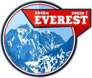Logotipo de la montaña de Everest del vector El peack más alto del emblema en mundo Ejemplo de la etiqueta del alpinismo libre illustration