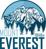 Logotipo de la montaña de Everest del vector Emblema con el peack más alto en mundo libre illustration