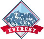 Logotipo de la montaña de Everest del vector Emblema con el peack más alto en mundo Ejemplo de la etiqueta del alpinismo libre illustration