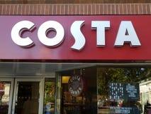 Logotipo de la muestra de la tienda de Costa Coffee imagen de archivo