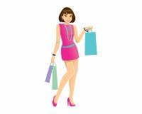 Logotipo de la mujer de las compras Imagenes de archivo