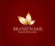Logotipo de la naturaleza de la hoja de oro Imagen de archivo libre de regalías