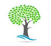 Logotipo de la onda de agua del concepto del árbol ilustración del vector