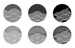 Logotipo de la onda de agua japon?s tailand?s chino cartab?n del efecto 3D y grabar en relieve stock de ilustración