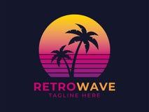 Logotipo de la palma de Retrowave stock de ilustración