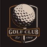 Logotipo de la pelota de golf en fondo oscuro Fotos de archivo