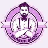 Logotipo de la peluquería de caballeros con el hombre libre illustration
