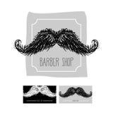 Logotipo de la peluquería de caballeros Emblema con un bigote SE del ejemplo del vector Imagen de archivo