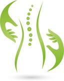 Logotipo de la persona y de las manos, ortopédico y femenino del doctor Imagen de archivo
