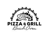Logotipo de la pizza y de la parrilla con el horno del ladrillo Imagen de archivo libre de regalías