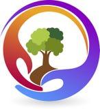 Logotipo de la planta de las manos stock de ilustración