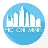 Logotipo de la plantilla de la silueta de la ciudad de Art Flat Shadow Design Skyline del vector del icono de Ho Chi Minh Vietnam Imagenes de archivo