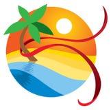 Logotipo de la playa del paraíso libre illustration