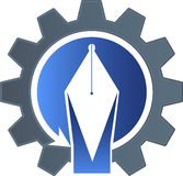 Logotipo de la pluma de la fábrica Fotografía de archivo