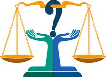 Logotipo de la pregunta del juicio ilustración del vector