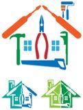 Logotipo de la reparación de la casa Fotos de archivo libres de regalías