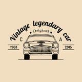 Logotipo de la reparación del coche con el ejemplo retro del automóvil Vector el garaje dibujado mano del vintage, el cartel auto Fotografía de archivo