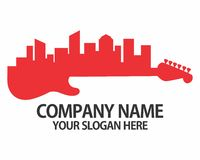Logotipo de la silueta de la ciudad de la guitarra Imágenes de archivo libres de regalías