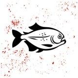 Logotipo de la silueta del negro de los pescados de la piraña ilustración del vector