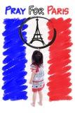 Logotipo de la torre Eiffel de la pintura de la niña Ruegue para París 13 de noviembre Fotografía de archivo