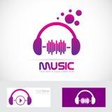 Logotipo de las auriculares del volumen de la música ilustración del vector
