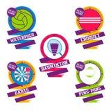 Logotipo de las bolas de los deportes Croquet, bádminton, dardos, water polo, ping-pong Imagenes de archivo