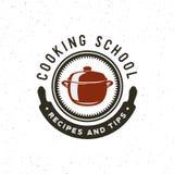 Logotipo de las clases de cocina del vintage emblema culinario diseñado retro de la escuela Ilustración del vector ilustración del vector